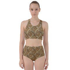 Gold Background Modern Racer Back Bikini Set