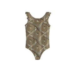 Gold Background Modern Kids  Frill Swimsuit