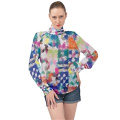 Colorful Crayons                            High Neck Long Sleeve Chiffon Top by LalyLauraFLM