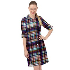 Textile Fabric Pictures Pattern Long Sleeve Mini Shirt Dress