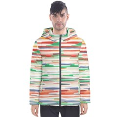 3d Stripes Texture                               Men s Hooded Puffer Jacket by LalyLauraFLM