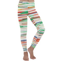 3d Stripes Texture                              Kids  Lightweight Velour Classic Yoga Leggings by LalyLauraFLM