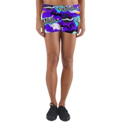 Paint On A Purple Background                              Yoga Shorts