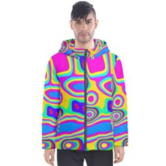 Colorful Shapes                               Men s Hooded Puffer Jacket by LalyLauraFLM