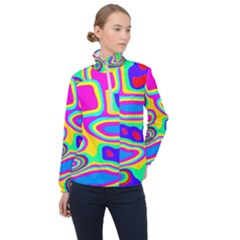 Colorful Shapes                               Women Half Zip Windbreaker