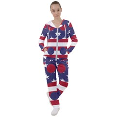 Yang Yin America Flag Abstract Women s Tracksuit
