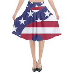 Yang Yin America Flag Abstract Flared Midi Skirt