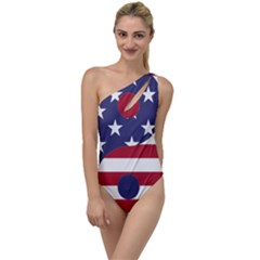 Yang Yin America Flag Abstract To One Side Swimsuit