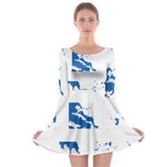 Greece Country Europe Flag Borders Long Sleeve Skater Dress