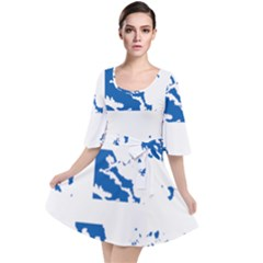 Greece Country Europe Flag Borders Velour Kimono Dress