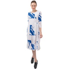 Greece Country Europe Flag Borders Ruffle End Midi Chiffon Dress by Sapixe