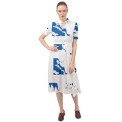 Greece Country Europe Flag Borders Keyhole Neckline Chiffon Dress