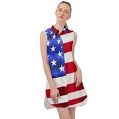 America Usa United States Flag Sleeveless Shirt Dress by Sapixe