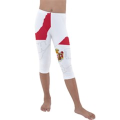 Monaco Country Europe Flag Borders Kids  Lightweight Velour Capri Leggings
