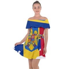 Romania Country Europe Flag Off Shoulder Velour Dress