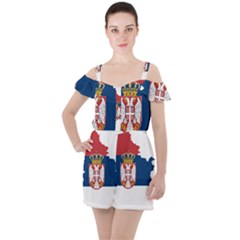 Serbia Country Europe Flag Borders Ruffle Cut Out Chiffon Playsuit