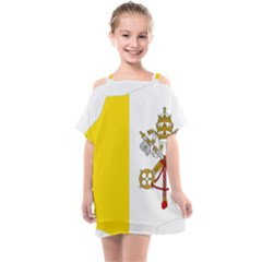 Vatican City Country Europe Flag Kids  One Piece Chiffon Dress by Sapixe