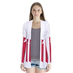 Malta Country Europe Flag Borders Drape Collar Cardigan by Sapixe