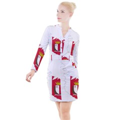 Malta Country Europe Flag Borders Button Long Sleeve Dress
