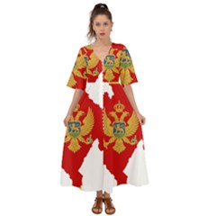 Montenegro Country Europe Flag Kimono Sleeve Boho Dress