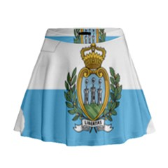 San Marino Country Europe Flag Mini Flare Skirt