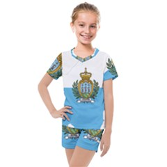 San Marino Country Europe Flag Kids  Mesh Tee And Shorts Set