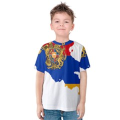 Borders Country Flag Geography Map Kids  Cotton Tee by Sapixe