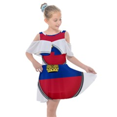 Lithuania Flag Country Symbol Kids  Shoulder Cutout Chiffon Dress by Sapixe