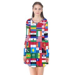 Flags Countries International Long Sleeve V Neck Flare Dress