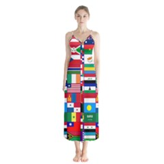 Flags Countries International Button Up Chiffon Maxi Dress