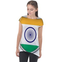 Flag India Nation Country Banner Cap Sleeve High Low Top