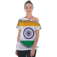 Flag India Nation Country Banner Tie Up Tee by Sapixe