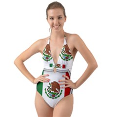 Flag Mexico Country National Halter Cut Out One Piece Swimsuit