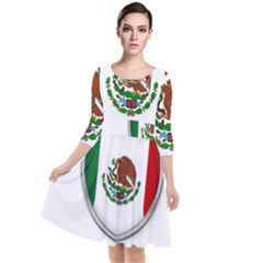 Flag Mexico Country National Quarter Sleeve Waist Band Dress