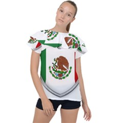 Flag Mexico Country National Ruffle Collar Chiffon Blouse