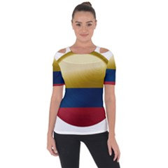 Colombia Flag Country National Shoulder Cut Out Short Sleeve Top
