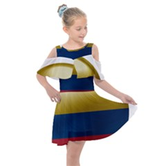 Colombia Flag Country National Kids  Shoulder Cutout Chiffon Dress by Sapixe