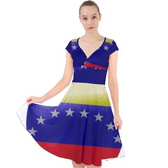 Venezuela Flag Country Nation Cap Sleeve Front Wrap Midi Dress