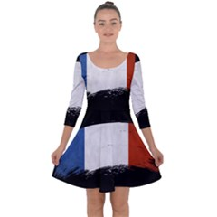 Flag France Flags French Country Quarter Sleeve Skater Dress by Sapixe
