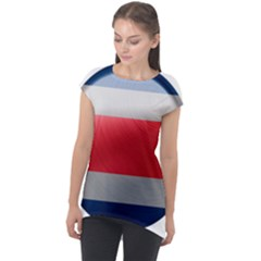 Costa Rica Flag Country Symbol Cap Sleeve High Low Top
