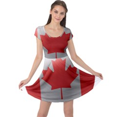 Canada Flag Country Symbol Nation Cap Sleeve Dress