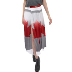 Canada Flag Country Symbol Nation Velour Split Maxi Skirt by Sapixe