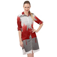 Canada Flag Country Symbol Nation Long Sleeve Mini Shirt Dress