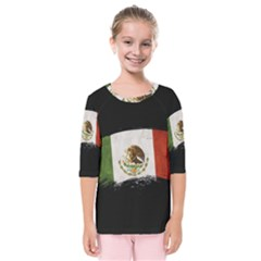 Flag Mexico Country National Kids  Quarter Sleeve Raglan Tee