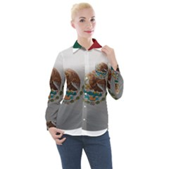 Mexico Flag Country National Women s Long Sleeve Pocket Shirt