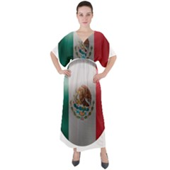 Mexico Flag Country National V Neck Boho Style Maxi Dress