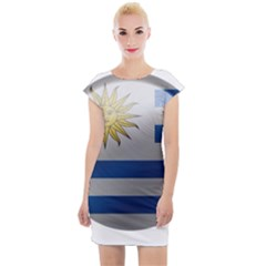 Uruguay Flag Country Symbol Nation Cap Sleeve Bodycon Dress