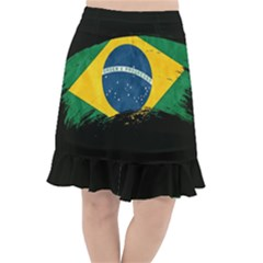 Flag Brazil Country Symbol Fishtail Chiffon Skirt