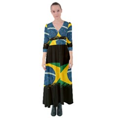 Flag Brazil Country Symbol Button Up Maxi Dress