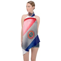 Paraguay Flag Country Nation Halter Asymmetric Satin Top